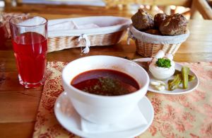 Ukrainian borsch in a royal manner from restaurant Tsarivka photo